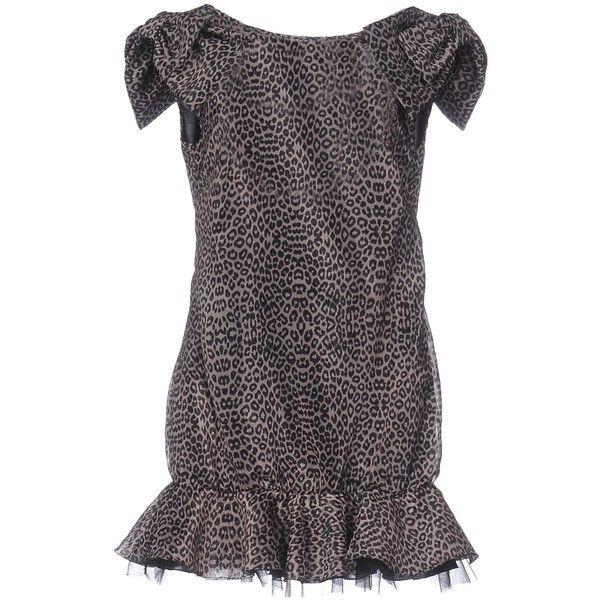 Mangano Short Dress ($60) ❤ liked on Polyvore featuring dresses, dove grey, short dresses, leopard print mini dress, bow dress, zipper mini dress and logo dress