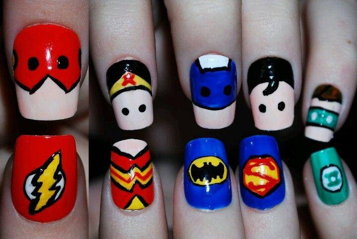 Superhero Nails, the flash, Wonder Woman, superman, batman, green lantern