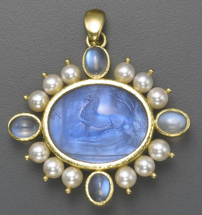 A Venetian glass, cultured pearl and eighteen karat gold brooch/pendant, Elizabeth Locke  centering a Venetian glass intaglio, backed with mother of pearl, within a cultured pearl frame accented by oval cabochon moonstones at the four points; with maker's mark for Elizabeth Locke.