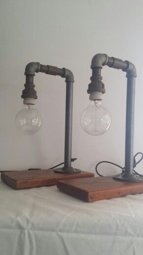 Steampunk plumbing pipe hook bedside lamps