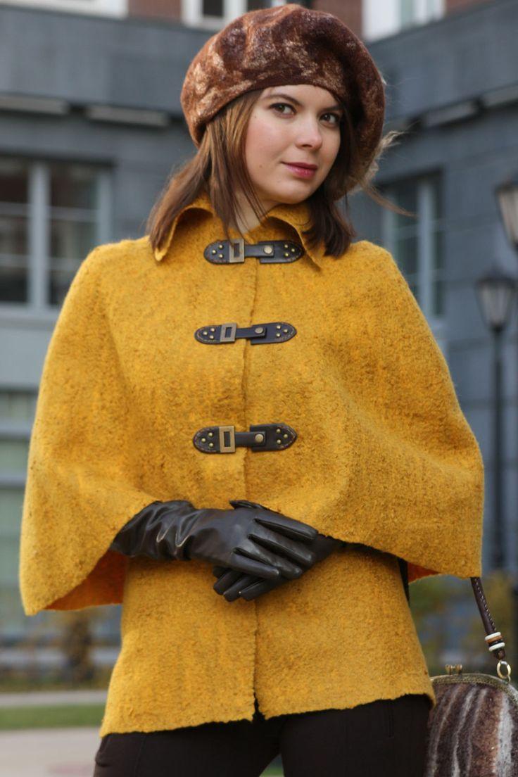 """Купить Кейп """"Утро в Лондоне"""" - куртка, куртка женская, куртка валяная, женская куртка"""