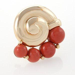Herz-Belperron 18 karat zlato a Coral Brož Brože šperky Starožitné šperky Tiffany lampy Art Nouveau