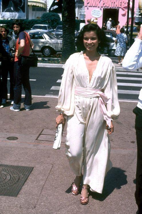 *bianca jagger color photo print ad model magazine vintage fashions style 70s white jumpsuit pants suit