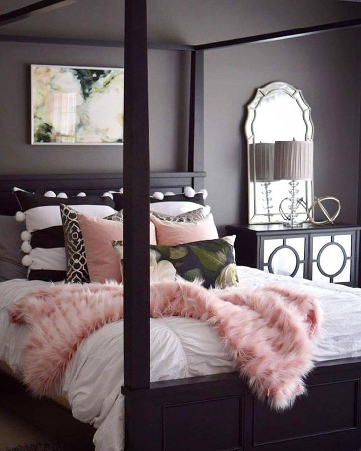 Pink faux  mixed prints and chic mirrored accents  glam up your bedroom  decor care of. 254 best Master images on Pinterest   Bedroom ideas  Ideas for