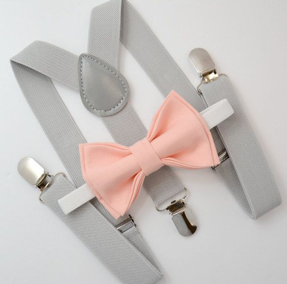 Bow Tie & Suspenders SET / Pastel Peach Coral Bow by BowTieLoveINC