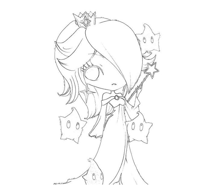 chibi coloring pages - Rosalina Peach Coloring Pages