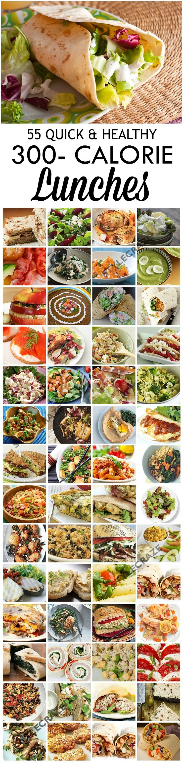 55 Quick & Healthy 300 Calorie Lunches #organize #mealplanning #weightloss