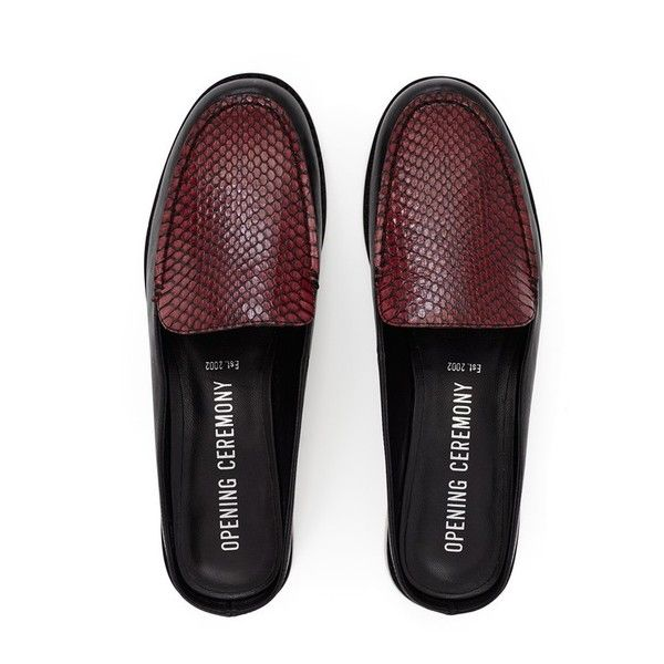 Opening Ceremony Nebulla Loafer Slides ($375) ❤ liked on Polyvore featuring shoes, loafers, black multi, flats, flat shoes, black loafers, black leather mules, black leather loafers and leather mules