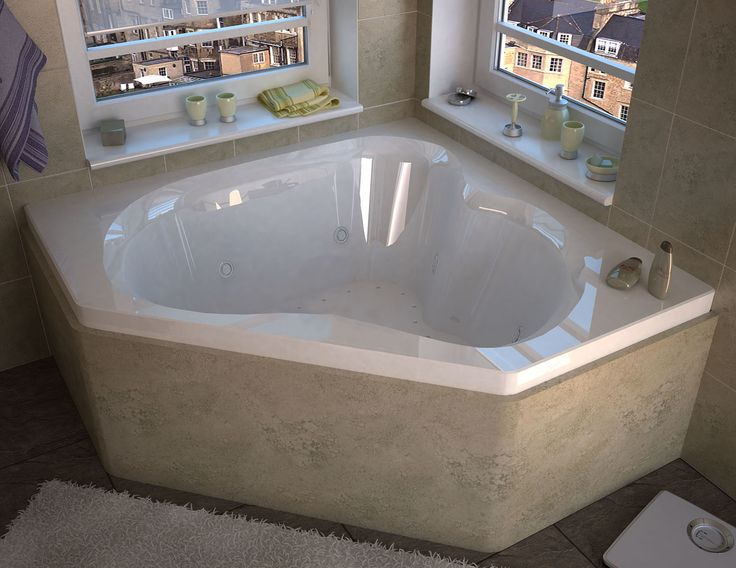 "Tobago 59.25"" x 59.25"" Corner Air Jetted Bathtub with Center Drain"