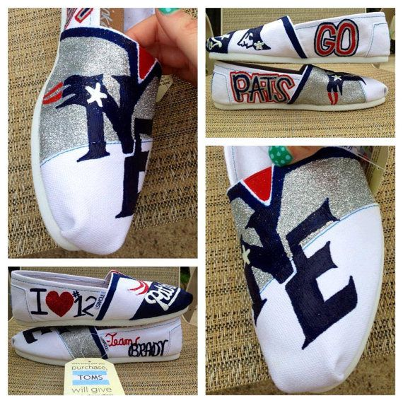 New England Patriots shoes custom made and hand by InkdUpKicks