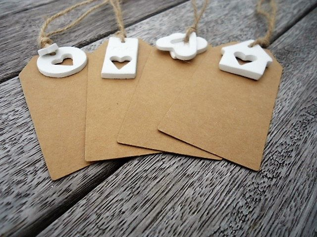 Gift Tags with little Clay Ornaments - Set of 4 by MYMIMISTAR on Etsy