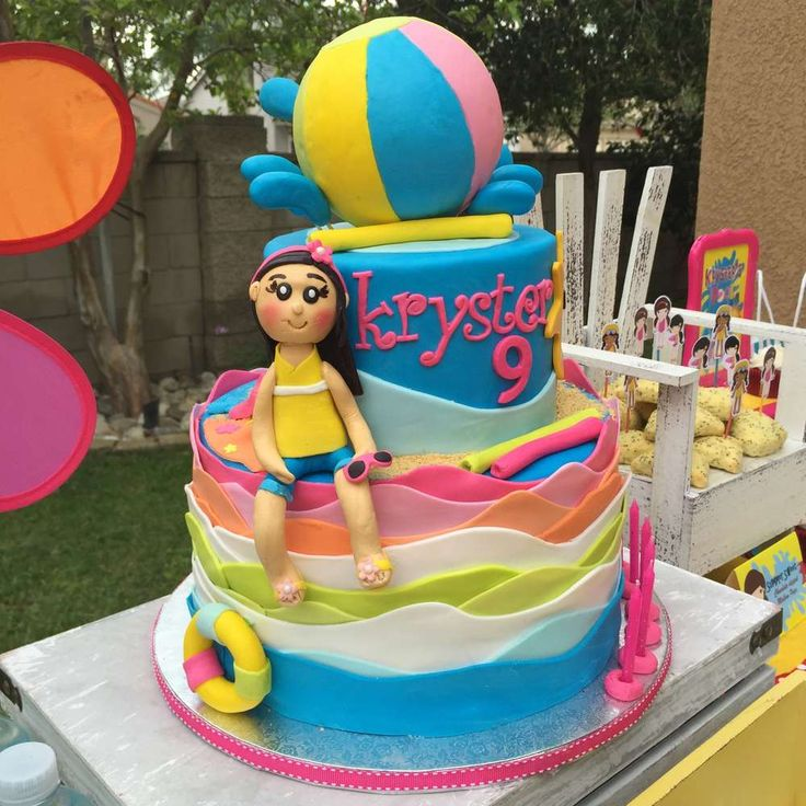 Amazing cake from a swimming birthday party! See more party ideas at CatchMyParty.com!
