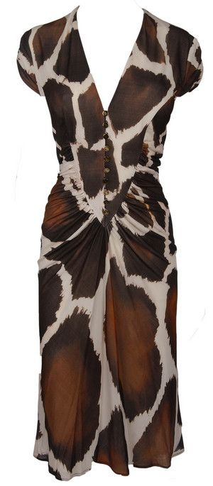 Roberto Cavalli Giraffe Print Dress