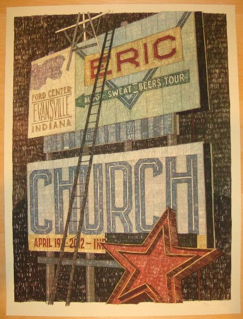Eric Church - silkscreen concert poster (click image for more detail) Artist: Landland Venue: Ford Center Location: Evansville, IN Concert Date: 4/19/2012 Edition: 170; signed and numbered by the arti