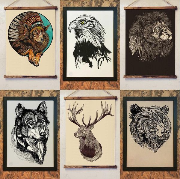 Some classic Bearhug Co prints - framing options available on all prints. #thebearhugco #lukedixon #print #illustration #wolf #eagle #lion #wolf #stag #bear