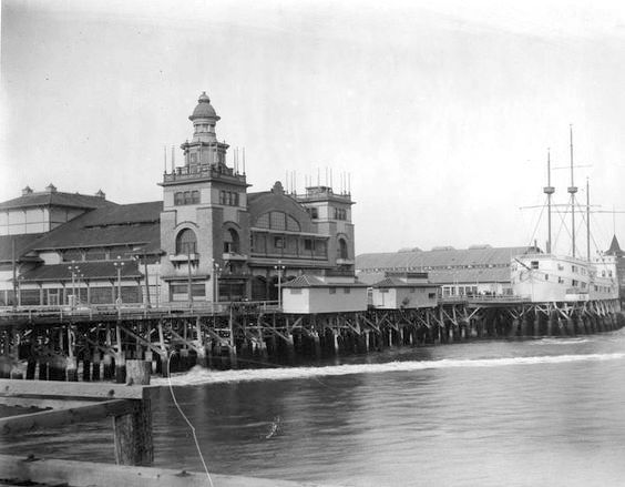 "I don't have a date for this shot of the Venice Pier but it's probably circa 1910s or 20s. On the right we can see the Ship Café, which opened in 1905 by Baron Long. It wasn't an actual floating boat, just built to look like one—hey, this is Hollywood, after all. During Prohibition, it became a very popular speakeasy, and is where Alla Nazimova was first introduced to Rudolph Valentino. At the time, she dismissed him a ""that gigolo"" but later cast him in her production of ""Camille."""