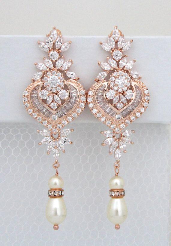 Rose Gold Bridal earrings Chandelier Wedding by treasures570