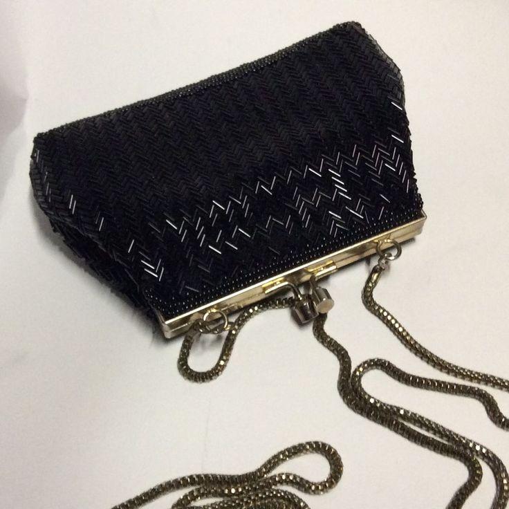 Black Evening Bag Purse Beaded Gold Tone Metal Kiss Lock Closure Long Chain | eBay