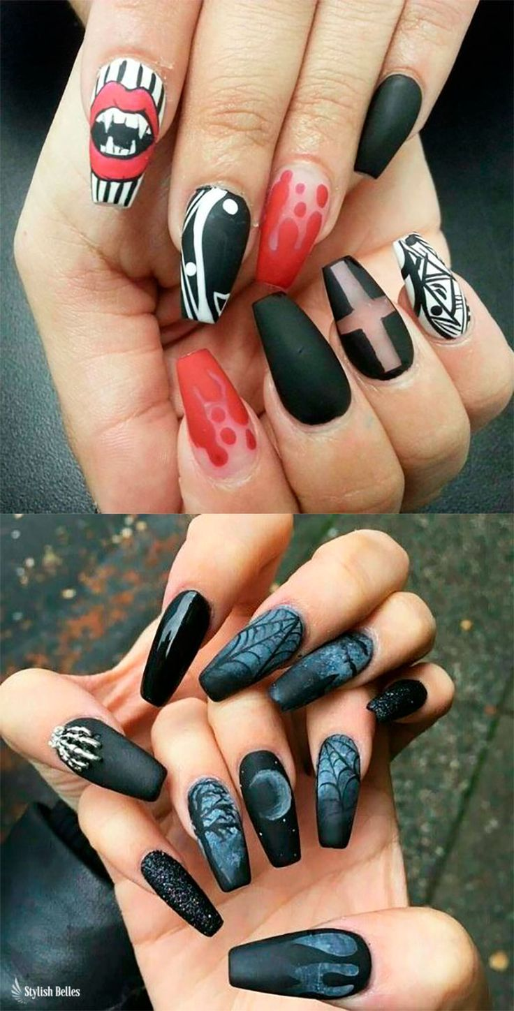 The Best Halloween Nail Designs In 2018 Stylish Belles Black Halloween Nails Halloween Nail Designs Halloween Acrylic Nails