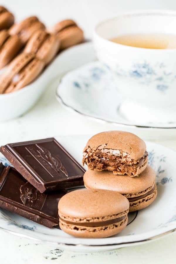 Ultimate chocolate macarons filled with silky smooth chocolate ganache. Simply the best!