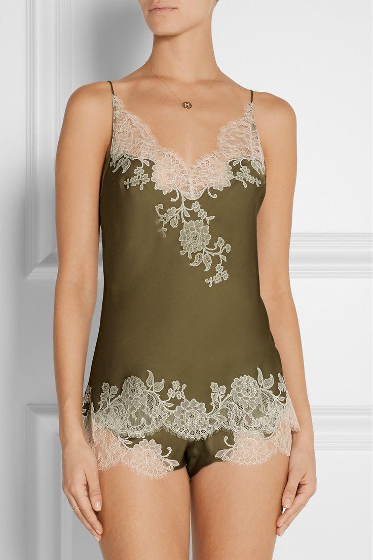 Carine Gilson|Sonia lace-trimmed silk-satin camisole|NET-A-PORTER.COM