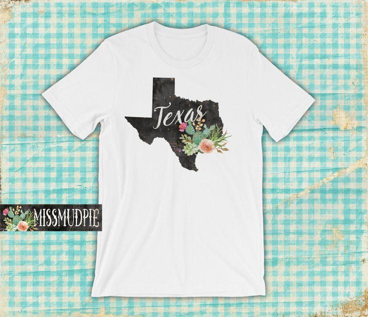 White Texas T-shirt State cactus unisex desert flower Austin Dallas San Antonio Houston home native texan southern cowgirl rodeo boutique by missmudpie on Etsy