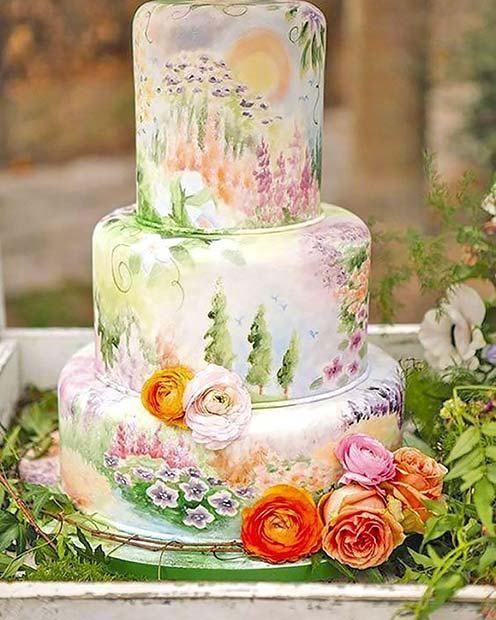 23 Stunning Spring Wedding Cakes to Inspire: #20. SPRING FLORAL CAKE IDEA; #springwedding; #weddingcake