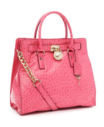Michael Kors Pink Ostrich Leather