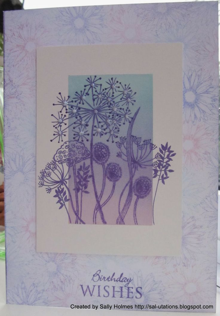 http://sal-utations.blogspot.com.au/2014/04/pastel-colours.html Sal's inky delights... stamped the base card with one of the Inkylicious twinchie stamps, a daisy, in spun sugar, tumbled glass and shaded lilac Distress ink. I then dusted some silk art card with the same colours. I stamped the main image (woodware) and sentiment (Inkylicious) in Memento Grape Jelly ink.