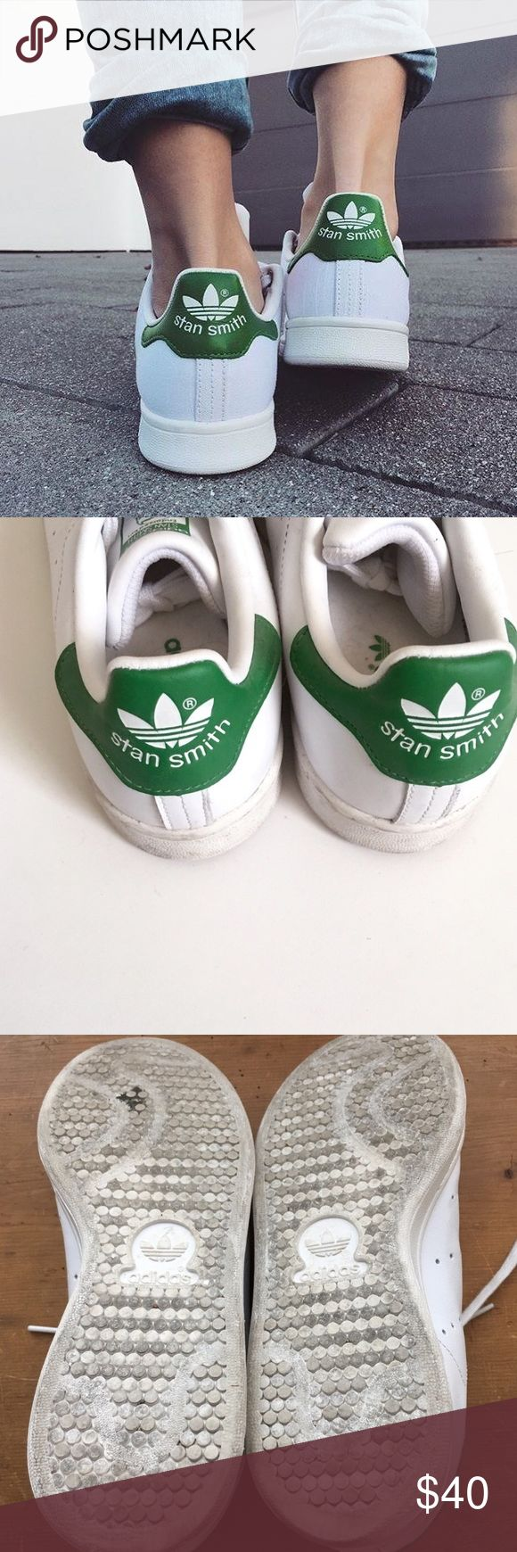 Original Stan Smith Adidas Sneakers These are THE ultimate necessity! They make every outfit look so cute whether it's dressed up or down. They are so comfortable and can be worn in any season. These will never go out of style!!! These have been worn but they have so much life left in them! I just never wear them anymore so I want to give them to a new loving owner! Offers are acceptable, but NO trades Adidas Shoes Sneakers