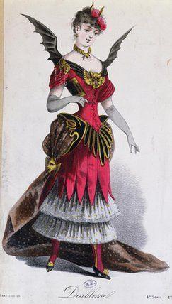 A female devil costume from L'Art Du Travestissement, a French fancy dress book written by Leon Salut in 1885.