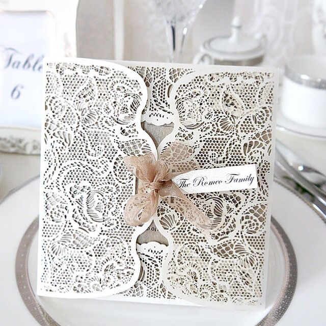 'Fiora' exclusive luxury custom made laser cut wedding invitations from Will O The Wisp! Elegant!