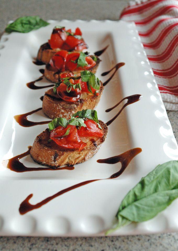 Tomato Bruschetta with Balsamic Glaze   Such a delicious, vegan appetizer!
