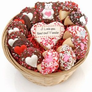 This Lady Fortune Brand Cookie Gift Baskets is packed with Chocolate Hand Dipped Fortune Cookies, Brownies, and Belgian Chocolate Dipped Oreo Cookies. It is topped with a Personalized Sugar Cookie. It sells for only $39.99 at Arttowngifts.com.