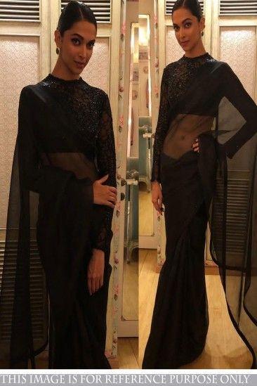 Bollywood deepika padukone noir Georgette Saree avec Blouse Russal - DMV15698 pour les femmes en ligne  #Designersaree #noir #georgettesaree #vêtementsdefêtesaree #vêtementspourfemmes #lamodesfemmes #achatsenligne