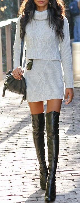 #winter #fashion / seater and skirt combo / over the knee leather boots                                                                                                                                                                                 More