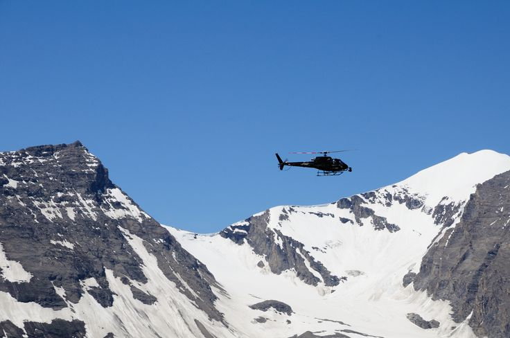 Filming helicopter on the gross glockner Austria