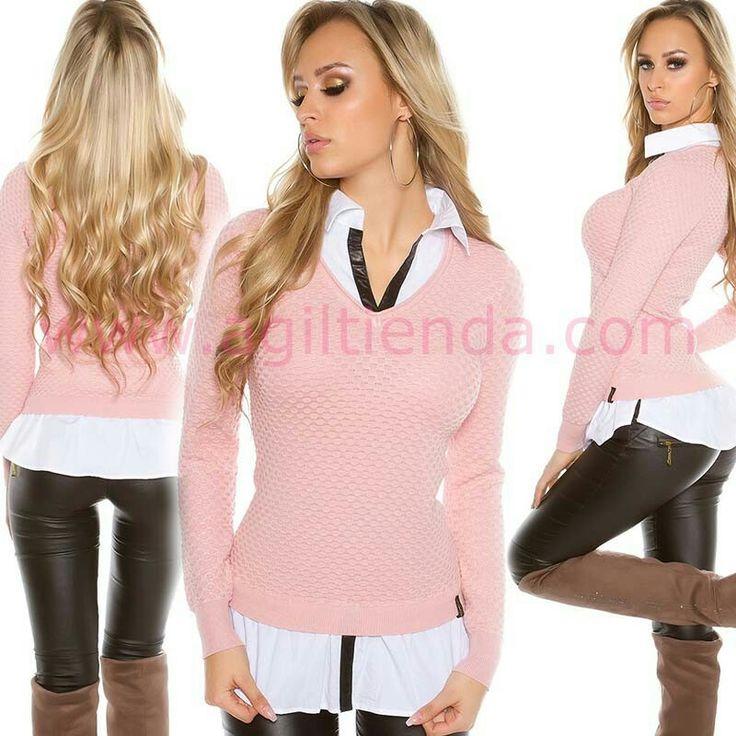 """#Exclusivo #sueter #jersey de #efecto #camisa  2 en 1 para @mujer de #estilo #casual con #tendencia #sofistiscada para #complementar un #look #joven y #Desenfadado en tu dia a #dia y lucir femenina y #sexy mesclando con todas tus #prendas de #vestir . Encuentralo en  """"Jerseys y Camisetas"""" de http://www.agiltienda.com/es/home/2554-jersey-camisa-2-en-1.html #shop #online #taradell @agiltienda.es"""