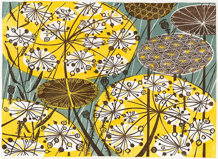 Seedheads - linocut by Angie Lewin - printmaker