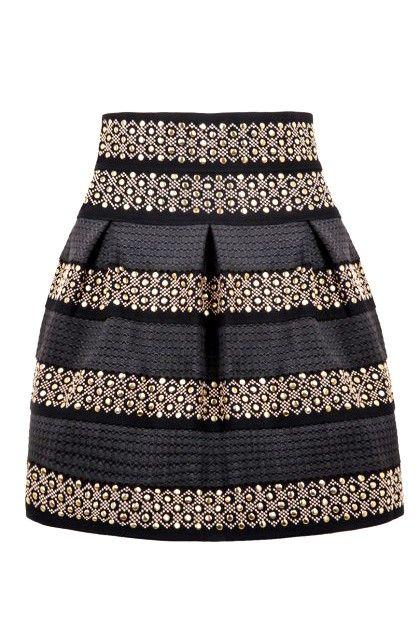 Black High Waist Rivet #Striped #Skirt