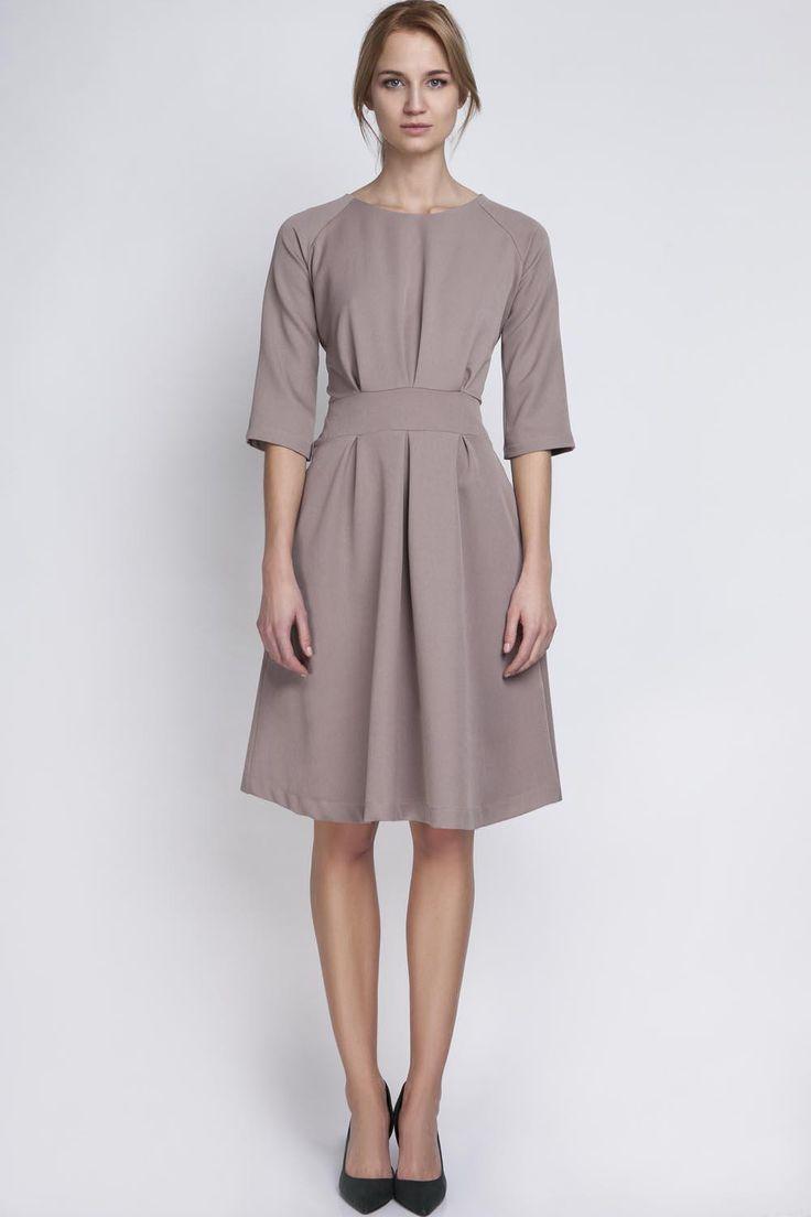 Beige Slim Waist 3/4 Sleeves Smart Dress LAVELIQ