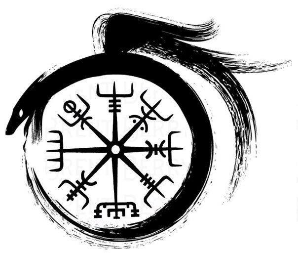 Vegvisir a viking compass; dragon ouroboros means infinity ...