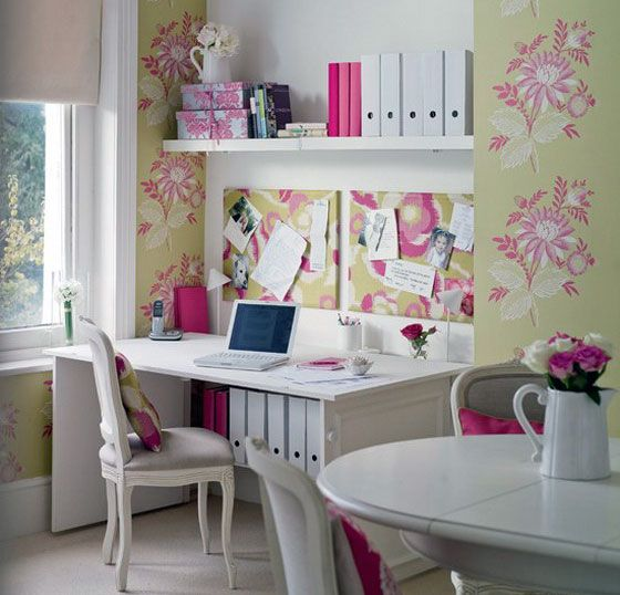 The Soft Pink Floral Motif Of This Home Office Will Calm You On Your Most  Frazzled