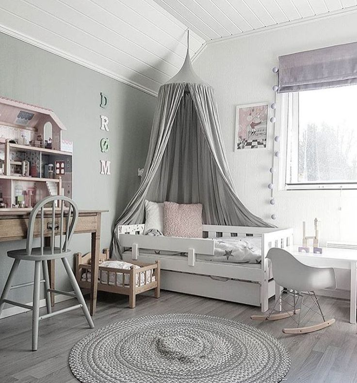 Muted gray design in this modern toddler room - dreamy!