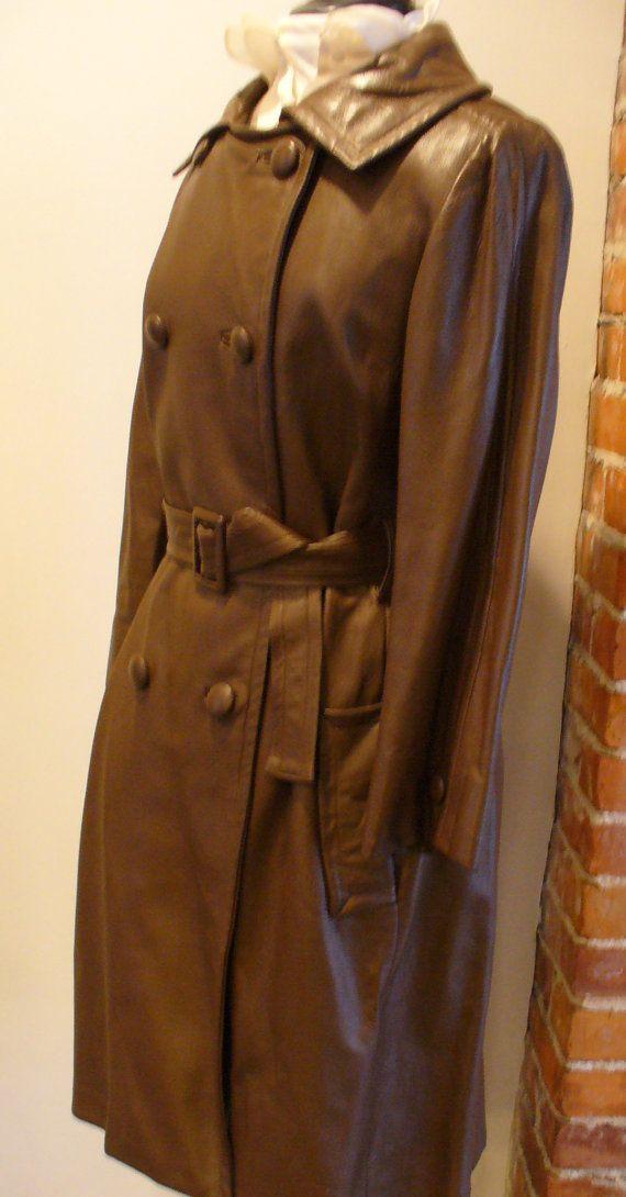 Vintage Schokolade braun Leder-Trenchcoat