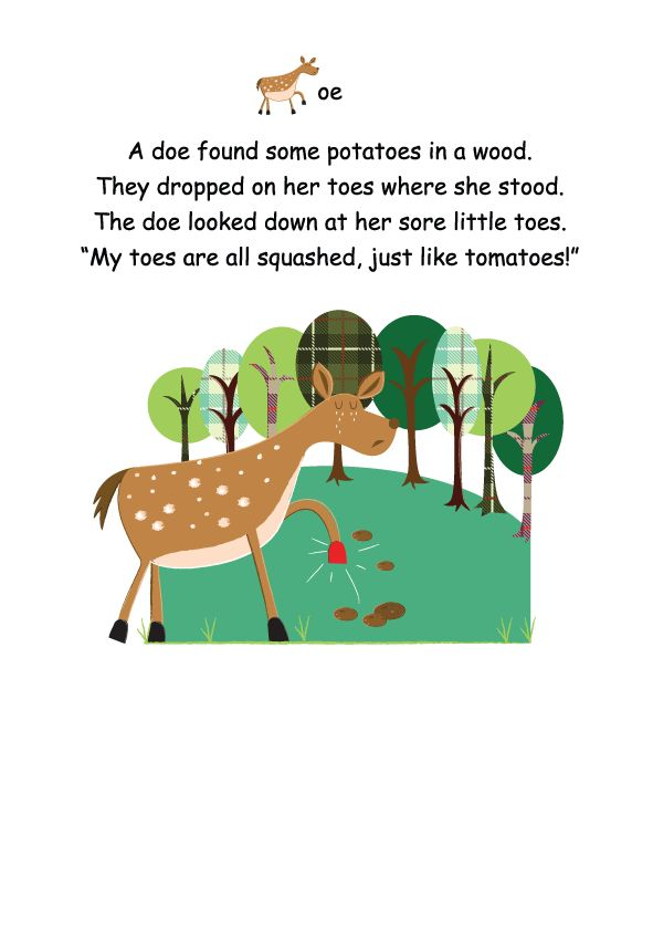 Another poem from the Little Lamb Phonics resource.  The 'oe' sound from Phase 5 Letters and Sounds - how could you resist that little doe?