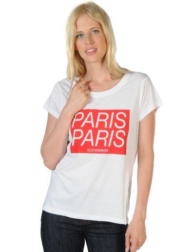 Eleven Paris Paris W in white,normale Passform,runder Halsausschnitt,Logoprint auf Brusthöhe,gerader Hüft- und Armabschluss,dezenter Logoprint am Rücken,Länge in Größe S ca.60cm,unser Model trägt Größe S