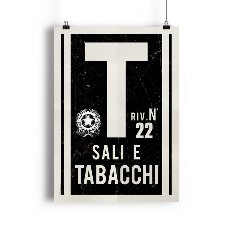 This poster is a reproduction of classic signs found outside tobacconists' shops in Italy.