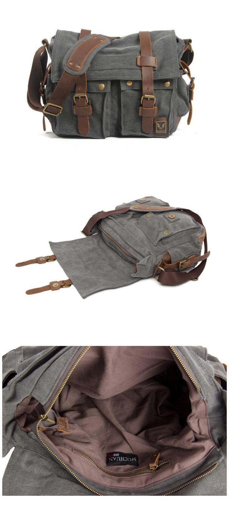 Canvas Leather Messenger Bag,Crossbody Shoulder Bag