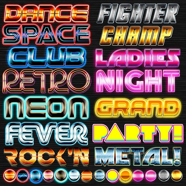 Party Event & Promo Styles | Typography | 1980s design, Typography